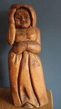 Large Antique Signed Folk Art Heavy Wood Carving Pilgrim Women