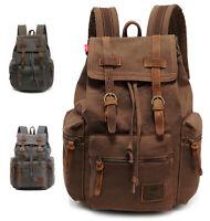 Travel Large Canvas Backpack for Men Women Leather Laptop Hiking School BookBag