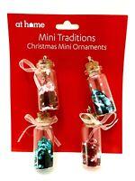 4 Christmas Tree Ornaments Holiday Wreath Decor ations Glitter Mini Bottles Set