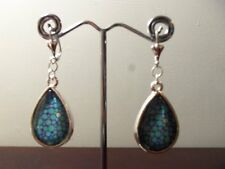 """NEW Handcrafted Teal and Purple Tear Drop 2"""" Sterling Silver Earrings"""