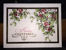 Holiday Greetings Card Set of 15 Gold Red Foiled Cards with Holly in Cigar Box