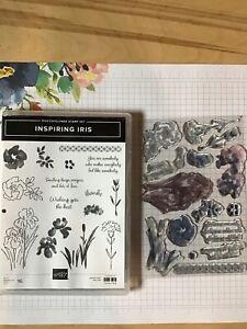 Stampin Up inspiring iris stamp set photopolymer. used.