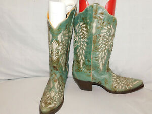 BODACIOUS BOOT CO. GREEN GOAT LEATHER WESTERN BOOTS SIZE 10
