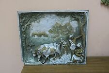 """Antique Signed Sculptured Iron Painted Metal Farm Scene Wall Art 12"""" x 15"""""""