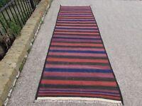 Old Traditional Hand Made Afghan Oriental Brown Wool Kilim Runner 306x98cm