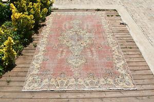 Turkish Rug 62''x99'' Oushak Light Muted Color 5x8 Vintage Rug Carpet 159x252cm