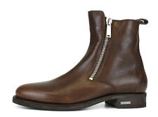 Dsquared2 Double Side Zip Leather Ankle Boots Brown Men's SIze 46 EUR 5197