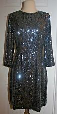 J.CREW COLLECTION STARRY SEQUIN DRESS SIZE 8 CHARCOAL E0197