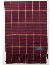 100% Cashmere Scarf Red Tan Check Tartan Graham Plaid SCOTLAND Wool Women R940