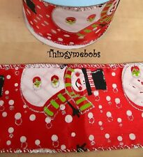1m X 63mm RED SNOWMAN WIRED EDGED CHRISTMAS RIBBON - CAKES/GIFT WRAPPING/CRAFTS