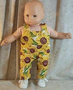"""Doll Clothes Baby Made2Fit American Girl 15"""" Bitty Overalls Sunflowers"""