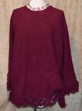 QVC DIALOGUE FABULOUS 3X BOUCLE SWEATER WITH FRINGE HEM VIOLET NEW W/ TAG