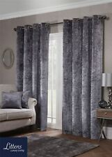 """90"""" x 90"""" Luxury Silver Crushed Velvet Eyelet Pair Curtains, Ring Top, Lined"""
