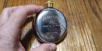 JAMESON IRISH WHISKEY Round Engraved Flask Stainless Steel