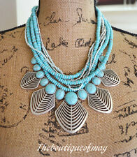 NEW! Lucky Brand Openwork Bib Silver-Turquoise Beaded Necklace $85