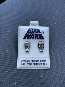 Vintage 1977 Star Wars C-3PO Stud Post Earrings New Old Stock