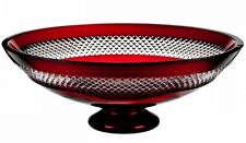 """Waterford John Rocha RED CUT Footed Centerpiece Bowl 13.5"""" Cased Crystal New"""