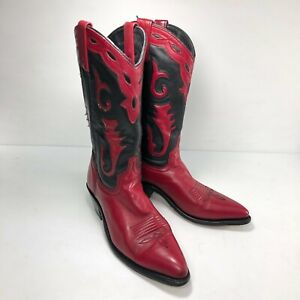 Black Red Leather Snip Toe Mid Calf Pull On Womens Western Cowboy Boots Sz 7.5M