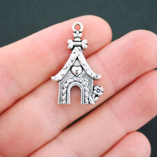 6 Dog House Charms Antique Silver Tone - SC5044