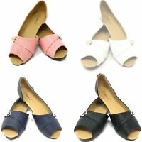 Women Open Toe Ballerina Ballet Flats Slip-Ons Loafers Shoes * NEW *