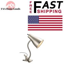Satin Chrome Clip Lamp 13-7/8 in. 60 Watts Adjustable Head Home Office Desk