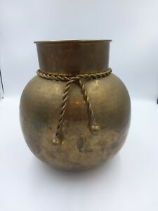 """VINTAGE HAMMERED BRASS VASE WITH ROPE TASSLE TIE, MADE IN INDIA, 9"""" TALL"""