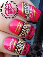 Nail Art Wrap Agua transfers/stickers calcomanías Leopardo print/silver Brillo # 175