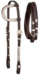 Royal King Dark Oil Leather Horse Size One Ear Silver Overlay Show Bridle 18-857