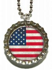 PATRIOTIC USA FLAG BOTTLE CAP NECKLACE (CAP018a)
