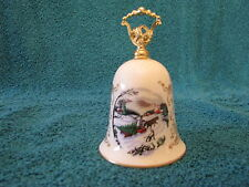1981 Ceramic Christmas Bell Gorham Fine China White With Gold Accents & Picture