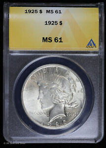1925 Silver Peace Dollar ANACS MS 61 | Uncirculated