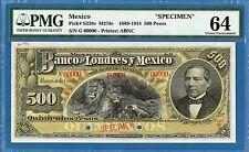 Mexico, 500 Pesos, 1889-1914, 00000 Specimen, UNC-PMG64, P-S238s, M276s