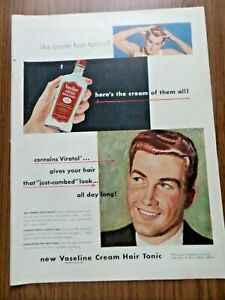 1948 Vaseline Hair Tonic Ad Here's the Cream of them All