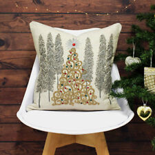 Paoletti Advent Gold Christmas Tree Cushion Covers 45 X 45 Cm Beige