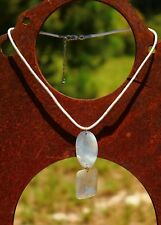 Carved mother of pearl dangle silver tone white cord  NECKLACE