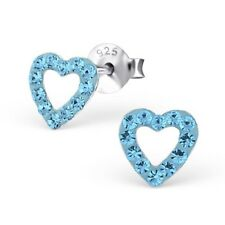 Sterling silver blue crystal heart shaped studs butterfly backing