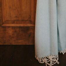 The Weaving Shed UK Wool Blanket Light Blue Herringbone Throw