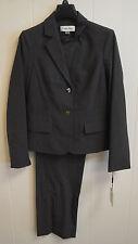 NWT Calvin Klein Women's Charcoal Gray 2-Piece Career Pant Suit Set SZ 10P $280
