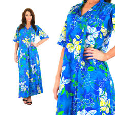 Vintage 70s Hawaiian dress boho hippie  blue abstract floral caftan  oversized