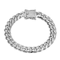 Stainless Steel Miami Cuban Bracelet Hip Hop Simulated Diamond Box Lock 10mm