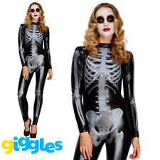 Skeleton Catsuit Costume Adult Womens Ladies Halloween Sexy Fancy Dress Outfit