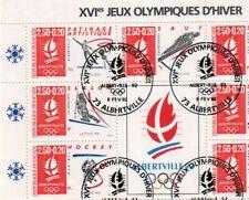 Lot 10 PLANCHES timbres 1er JOUR XVI J-O d'HIVER Albertville 92, Bloc 21 91 547