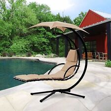 Hanging Chaise Lounger Chair Air Porch Swing Hammock Arc Stand Canopy Umbrella