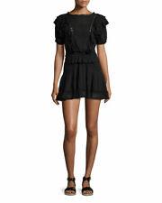 ISABEL MARANT Naoko Black Ruffle High Neck Puff Short Sleeve Mini Dress 36/4