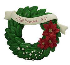 Feliz Navidad! - 2012 Hallmark Ornament - Poinsettia Wreath - Banner - Christmas