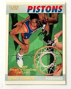 Dennis Rodman 1997 Fleer Decade of Excellence rare insert, Pistons, Bulls, Spurs