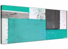Turquoise Grey Abstract Painting Canvas Wall Art Modern 120cm Wide - 1345