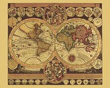 Bild Kunstdruck Historische Weltkarte 17th Jahrundert Mit Rahmen 31% Sale Landkarten