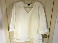 Woman's Talbots size Large white eyelet hemline tie sleeve cotton v neck top