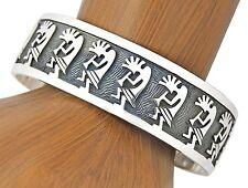 Women's Hopi Steven Sockyma Signed .925 Sterling Silver Museum Kokopelli Cuff